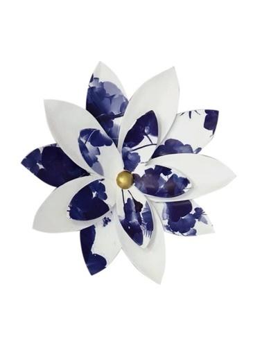 Lucky Art Mavi Beyaz Büyük Çiçek Dekor Renkli